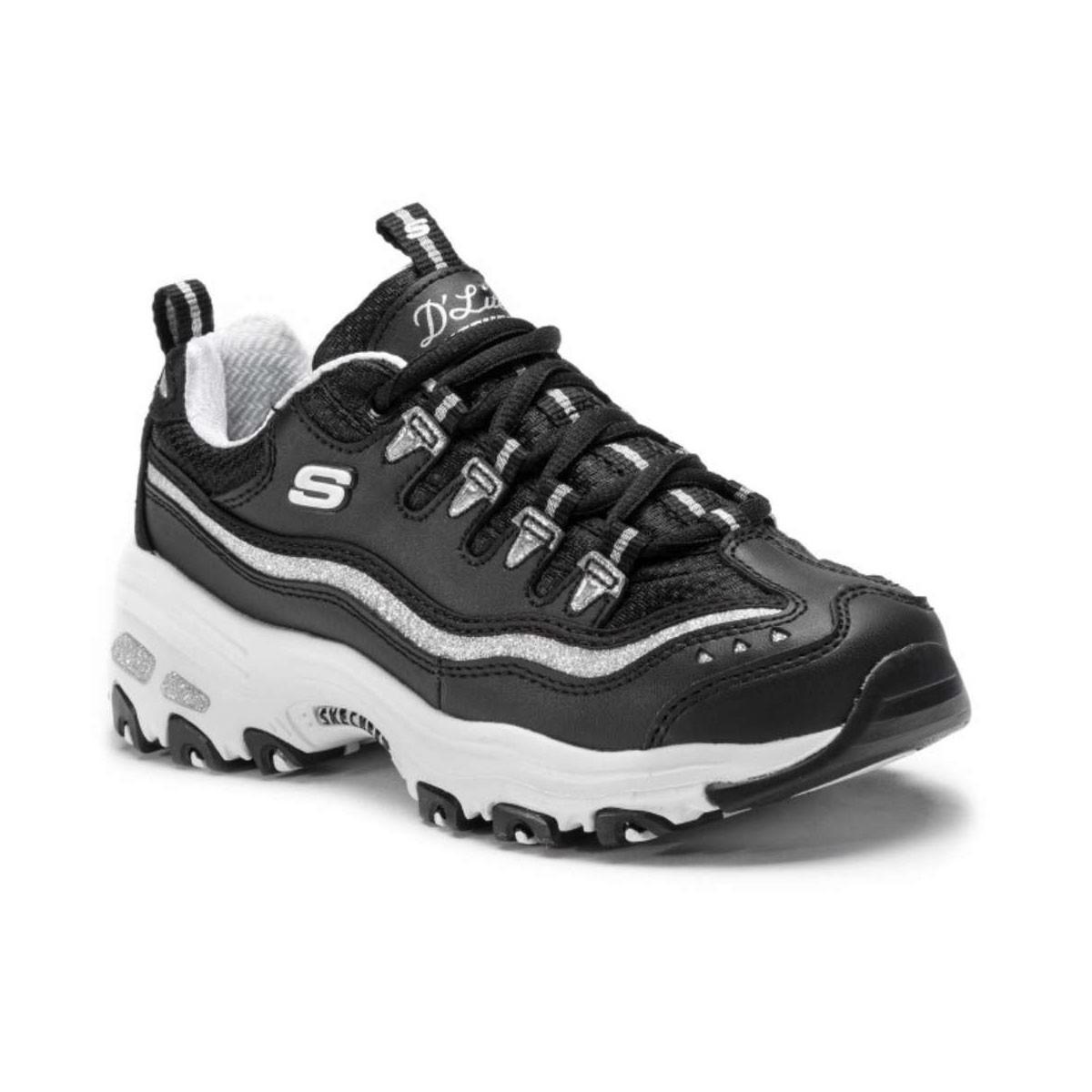 Skechers D'Lites Now&Then 11923 BKSL Γυναικείο Sneaker Μαύρο/Ασημί