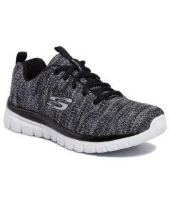 Skechers Graceful Twisted Fortune 12614 BKW Γυναικείο Sneaker Μαύρο/Λευκό