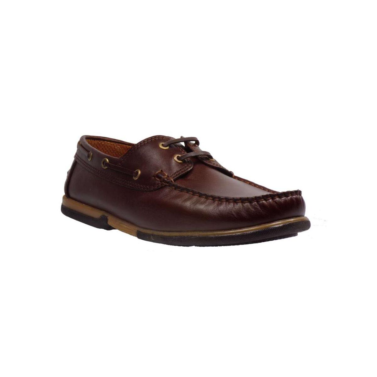 Riverland 1212 Boat Shoe Απο Γνήσιο Δέρμα Καφέ