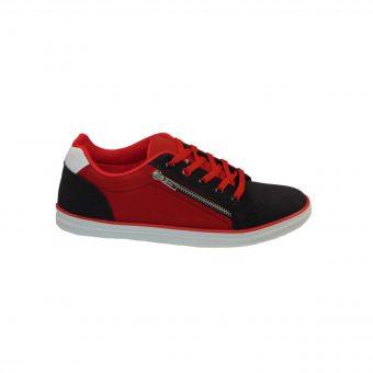 poseidon casual apo sunthetiko texnoderma mayro- kokkino tsimpolis shoes