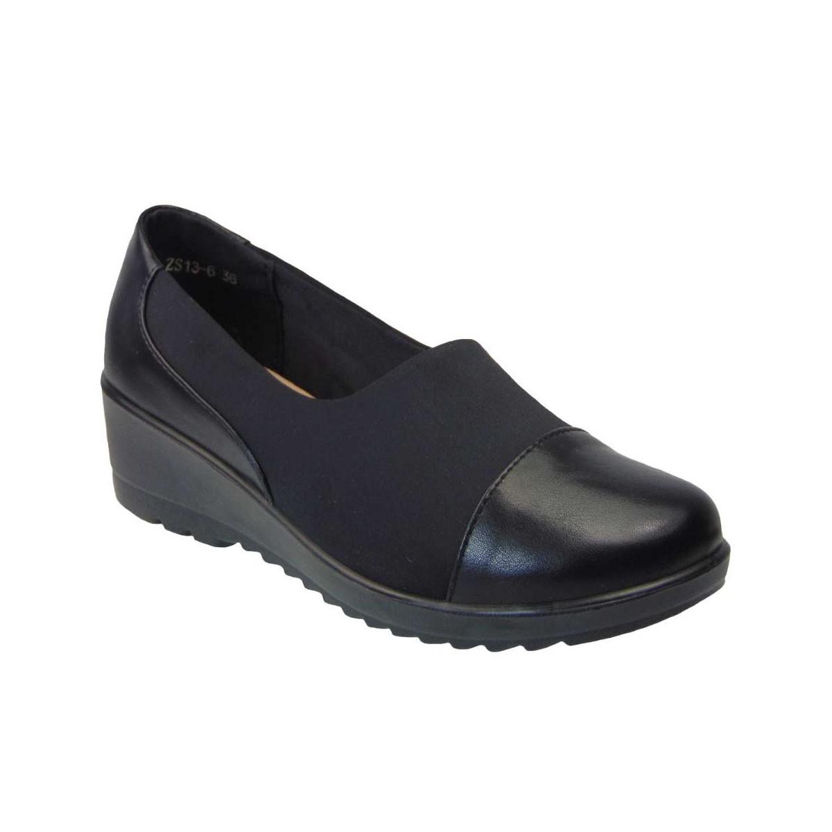 Tsimpolis Shoes ZS13-6 Γυναικείο Slip On Από Ενισχυμένο Stretch Μαύρο