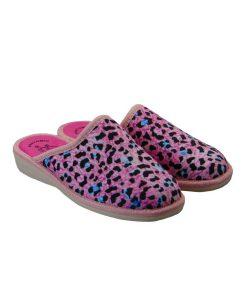 miss desiree gynaikeia pantofla roz leopar tsimpolis shoes