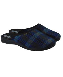 Tsimpolis Shoes S015 Ανατομική Μάλλινη Παντόφλα Σπιτιού Μπλέ Καρό